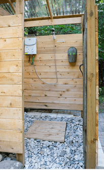 A glamping shower stall