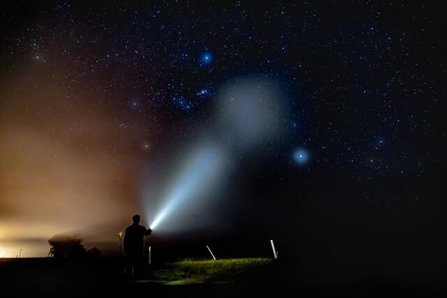 With the brightest handheld LED spotlights you can light up the sky like this!